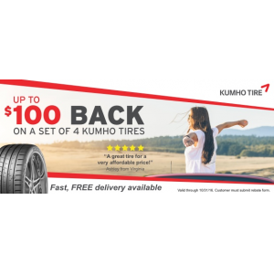 Get up to $100 Casback on A Set Of 4 Kumho tires At Tirebuyer.com