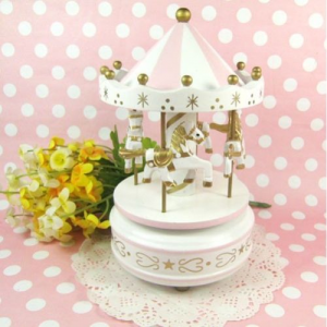 Vintage Pink Wooden Merry Go Round Carousel Music Box Kids Girls Christmas Gift For $9.19 At Ebay.com