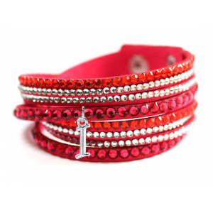 Leatherette Wrap Bracelet with Crystals and Initial For $8.99 At LivingSicial.com