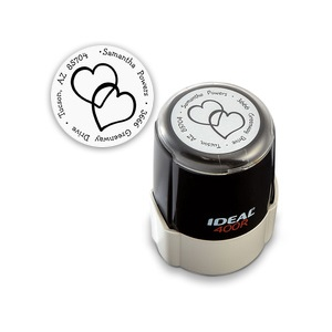 Double Hearts Self Inking Round Personalized Name And Address Stamper For $24.95 At CurrentLabels.com