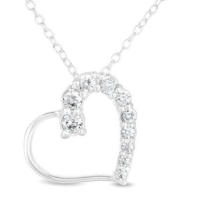 Buy CZ Sterling Silver Heart Pendant For $15 At Walmart.com