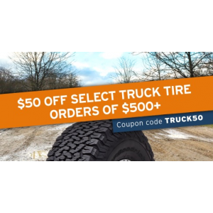 Save $50 off select truck tire orders over $500