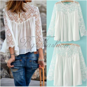 Grab Ladies Casual Lace Shirts Chiffon Blouses T Shirt Tops Just For $4.77 Only At Ebay.com