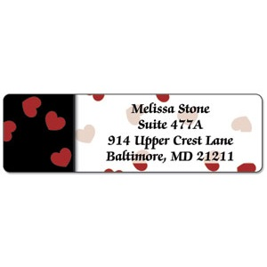 Black And Red Valentine Designer Rolled Address Labels For $8.95 At CurrentLabels.com