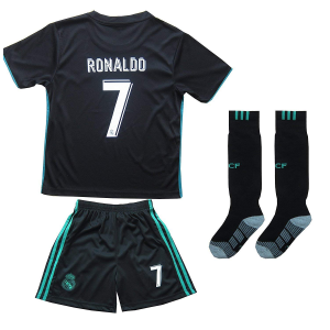 REAL MADRID #7 RONALDO KIDS AWAY SOCCER JERSEY & SHORTS YOUTH $29.99  At Amazon.com