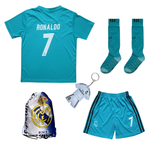 Buy 2017/2018 Real Madrid RONALDO #7 Third Black Soccer Kids Jersey & Short & Sock & Soccer Bag Youth Sizes $35 At Amazon.com