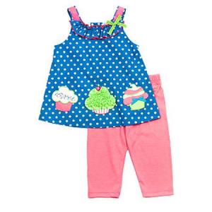 Turquoise Dot Cupcake Top With Pink Leggings $24.99 At Walmart