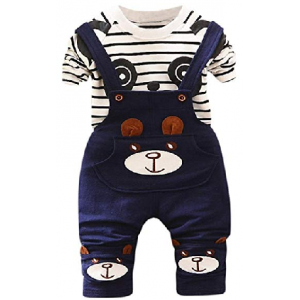 Baby Boys Girls Clothes Set,Toddler Kids Panda Print Tops + Pants Overalls Outfit $1.49 At Amazon