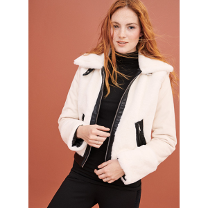 Juniors' Faux Fur Bonded to Faux Suede Jacket with Pleather Trim $35.88 At Walmart