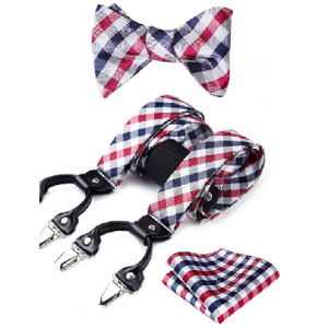 Suspender & Self-tie Bow Tie and Pocket Square Set Various Classic 6 Clips Adjustable Braces $19.99 At Amazon