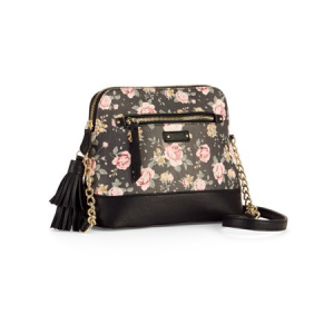 No Boundaries Black Floral Half Moon Crossbody $13.97 At Walmart