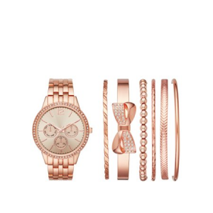 Ladies' Rose Gold Watch and Stackable Bracelet Gift Set $7.75 At Walmart
