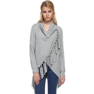Women irregular Tassel Tops Long Sleeve Cloak Solid Casual Shirt Loose Blouse $17.58 At Walmart