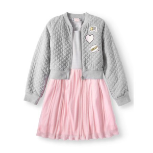 Dress and Quilted Bomber Jacket, 2-Piece Outfit Set (Little Girls & Big Girls) $16.96 At Walmart