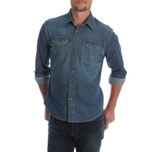 Men's and Big & Tall Premium Slim Fit Denim Shirt, up to Size 5XL $16.97 At Walmart