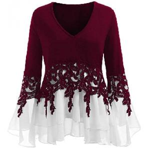 Rakkiss Womens Blouse Fashion Casual Applique Flowy Chiffon V-Neck Long Sleeve Tops $3.50  At Amazon