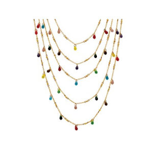 Multicolor Beaded Waterfall Necklace in Yellow Gold Tone $18.87 At Walmart