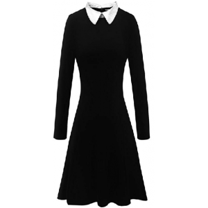 Women's Long Sleeve Casual Peter Pan Collar Fit and Flare Skater Dress $24.99 At Amazon