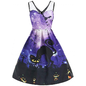 Women Sleeveless Galaxy Print Cat Halloween Evening Prom Costume Swing Dress $8.59 At Amazon