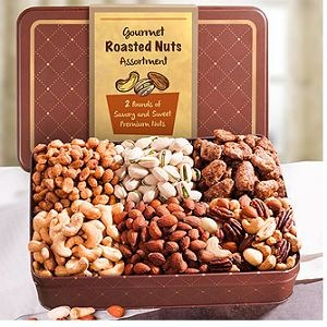 Father's Day Two Pound Roasted Nuts Assortment in Keepsake Tin $37.95.