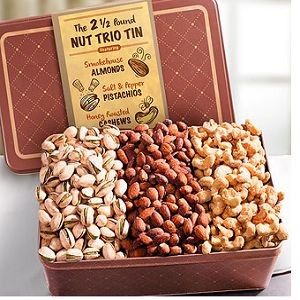 Father's Day Two and a Half Pound Smoky^ Savory and Sweet Nut Trio in Keepsake Tin $39.95.