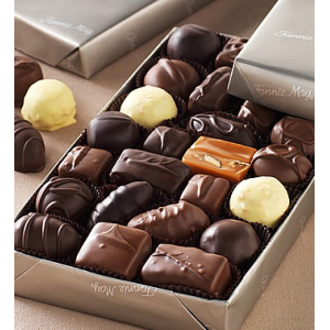 Assorted Milk & Dark Chocolates in platinum wrap at $24.99.