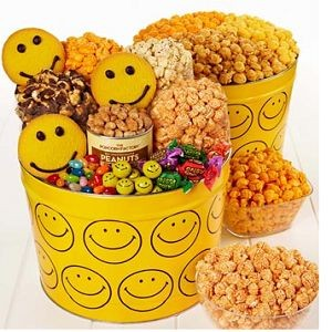Smiley Face Snack Assortment and 3-Flavor Popcorn $.39.