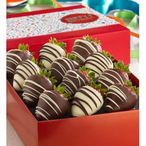 Full Dozen Whimsical Birthday Chocolate Dipped Strawberries at $49.99.