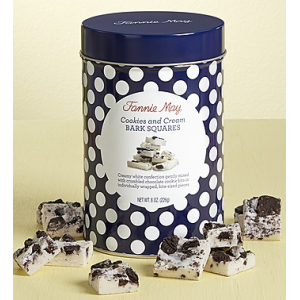 Cookies and Cream Bark Squares  8oz canister at $12.99.