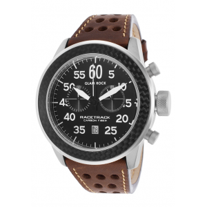 Men's Racetrack Chrono Green Leather Black Dial Carbon Fiber Bezel -at $119.99