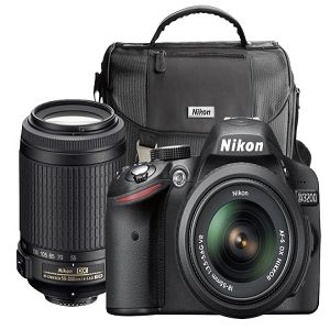Nikon - D3200 DSLR Camera with 18-55mm and 55-200mm Lenses - Black At $499.99