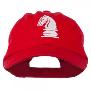 Chess Knight Embroidered Pet Spun Washed Cap - Red at $18.99.