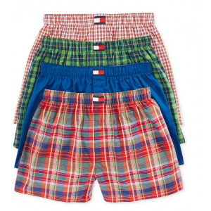 Tommy Hilfiger Men's Underwear^ Woven Boxer 4-Pack Collection at $30.99