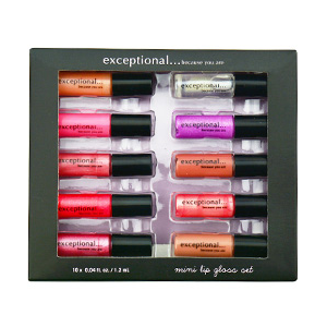 Get 60% off on Exceptional-Because You Are 10 Piece Mini Lip Gloss Set Each .04 oz/1.2 ml