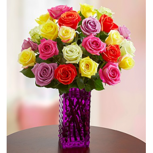 Buy 12 Assorted Roses^ Get 12 Free+Free Premium Vase at just $34.99