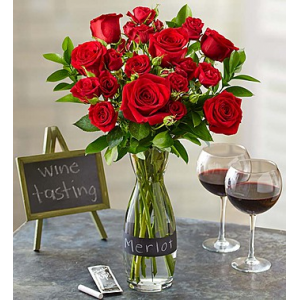 Merlot Rose Bouquet with Wine Carafe at $44.99