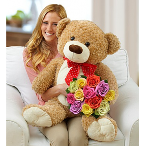 Lotsa Love Big Bear with Assorted Roses at $79.99