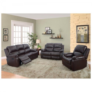Kadia Brown Faux Leather Reclining 3-pc Living Room Sofa set at $899