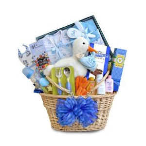 Special Stork Delivery Baby Boy Basket at $145.99