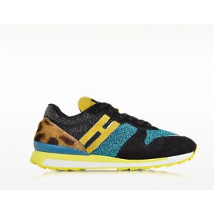 HOGAN REBEL Turquoise Lurex Sneaker w/Leopard Haircalf Detail at $425.00