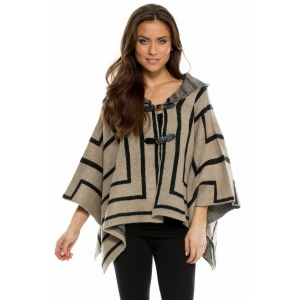 Elan Sweater Poncho w/ Belt Buckle & Hood in Taupe at $77.00