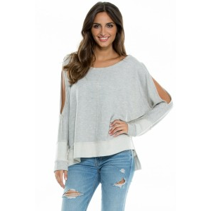 Elan Top High-Low Slit Sleeve Top w Side Slits in Black PREORDER at $65.00