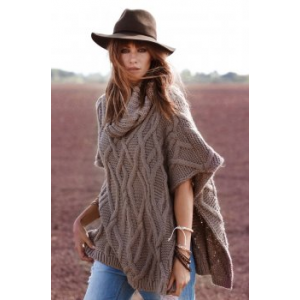 Elan Poncho Cowl Neck Cable Knit Hi Slit Side in Taupe PRE-ORDER at $84.00