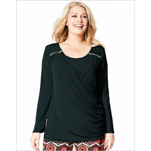 Just My Size Long-Sleeve Drape-Neck Women's Top with Shoulder Zippers and Faux-Cami Inset at $21.99