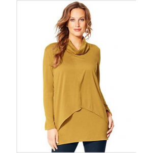 Just My Size Long-Sleeve Cowl-Neck Women's Tunic with Asymmetrical Split Front at $19.99