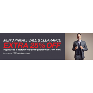 Men's Private Sale & Clearance Extra 25% off