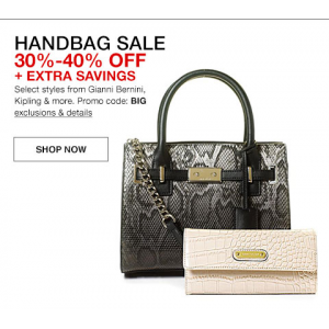 Handbag SALE 30%- 40% off + Extra Savings Select style from Gianni Bernini, Lipling & more Use promo Cose:BIG