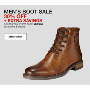 Get 30% OFF + Extra Savings on Men's Boot Sale
