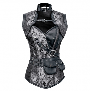 JEFFERY STEAMPUNK CORSET WITH JACKET & BELT At $79.00