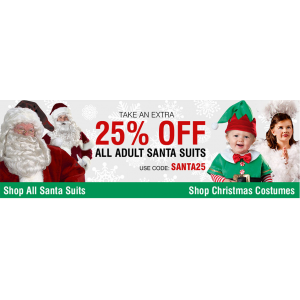 Extra 25% Off on All Adult Santa Suits